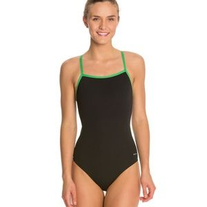 Sporti green and black one piece